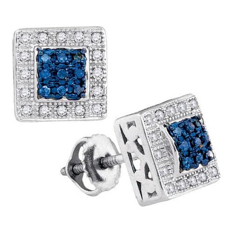 10k White Gold 0.18Ctw Blue Diamond Fashion Earrings: Earrings
