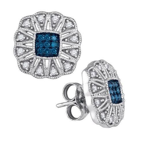 10k White Gold 0.25Ctw Blue Diamond Fashion Earrings: Earrings