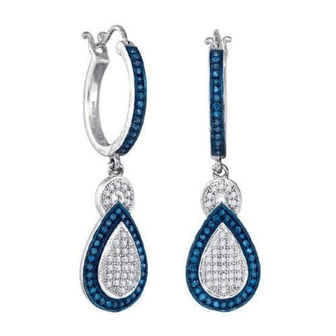 10k White Gold 0.51Ctw Blue Diamond Fashion Earrings: Earrings