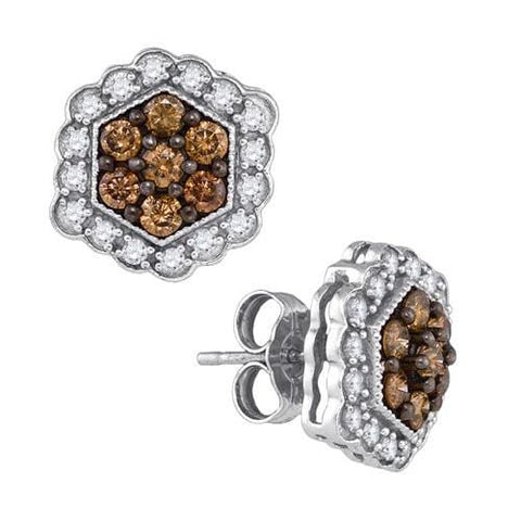 10k White Gold 0.90Ctw Cognac Diamond Fashion Earrings: Earrings