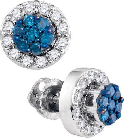 10K White Gold 0.53 Ctw Diamond Fashion Stud Earrings 1.77g: Earrings