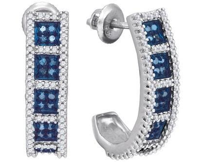 10k White Gold 0.95Ctw Blue Diamond Micro-Pave Earring: Earrings