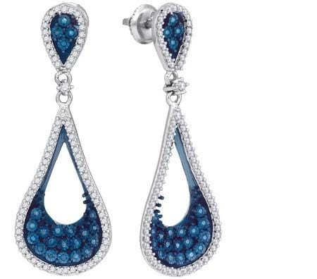 10k White Gold 1.00Ctw Blue Diamond Micro-Pave Earring: Earrings