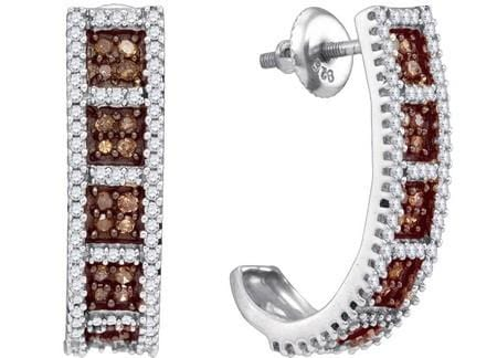10k White Gold 0.95Ctw Cognac Diamond Micro-Pave Earring: Earrings
