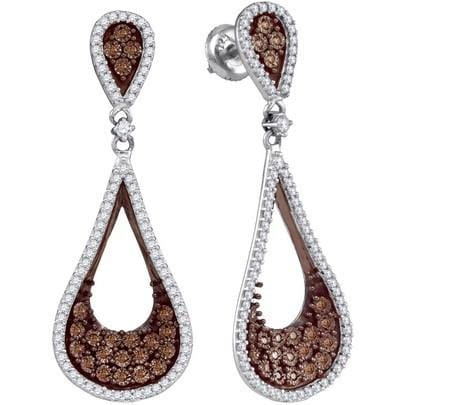 10k White Gold 1.00Ctw Cognac Diamond Micro-Pave Earring: Earrings