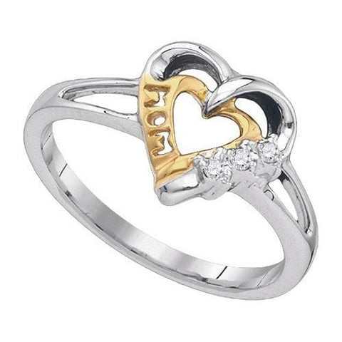 .925 Sterling Silver 0.03 CTW Diamond Heart MOM Ring size 7 - AnaDx Collection