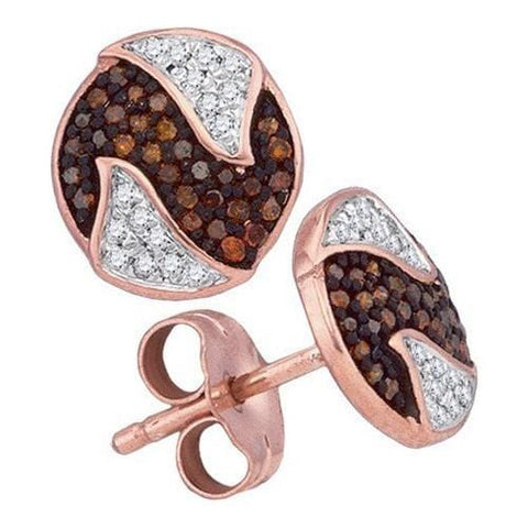 10k Rose Gold 0.21Ctw-Dia Micro-Pave Earrings: Earrings