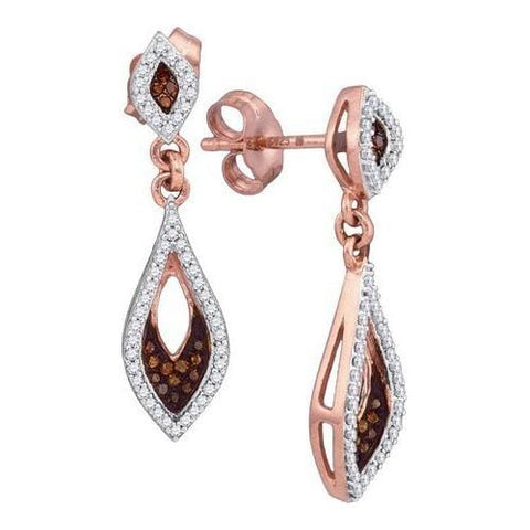10k Rose Gold 0.30Ctw-Dia Micro-Pave Earrings: Earrings