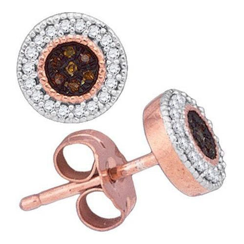 10k Rose Gold 0.12Ctw-Dia Micro-Pave Earring: Earrings