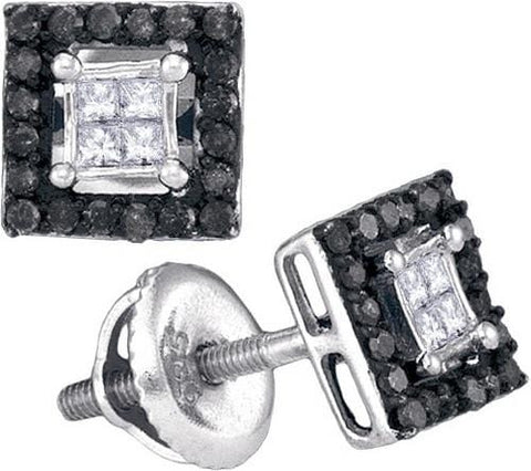 10K White Gold 0.33 Ctw Black Diamond Micro Pave Stud Earrings 1.5g: Earrings