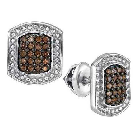 10K White Gold 0.33 Ctw Champagne Diamond Micro Pave Stud Earrings 2.18g: Earrings