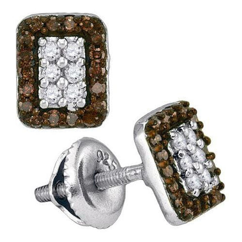 10k White Gold 0.33Ctw Cognac Diamond Micro-Pave Earring    Q: Earrings