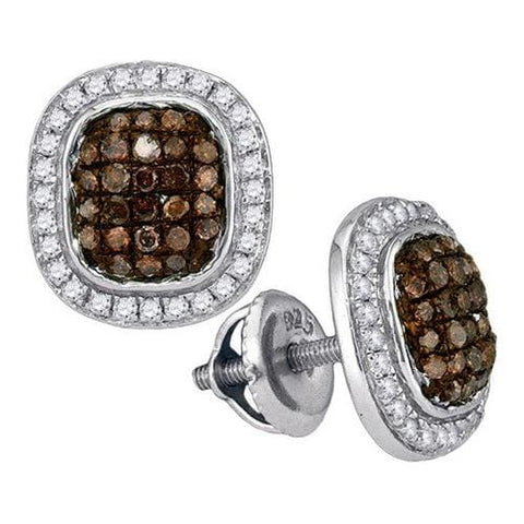 10K White Gold 0.55 Ctw Champagne Diamond Micro Pave Stud Earrings 1.96g: Earrings