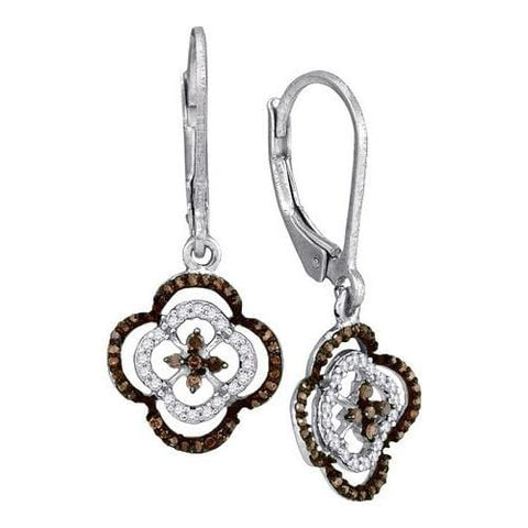 10k White Gold 0.35Ctw Cognac Diamond Micro-Pave Earring: Earrings