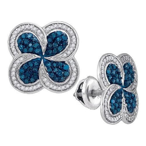 10k White Gold 0.55Ctw Blue Diamond Micro-Pave Earring: Earrings