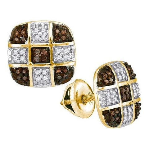 10k Yellow Gold 0.25Ctw Cognac Diamond Micro-Pave Earring: Earrings