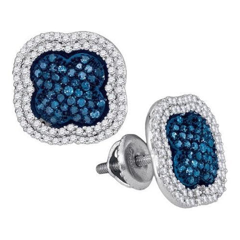 10k White Gold 0.75Ctw Blue Diamond Micro-Pave Earring: Earrings