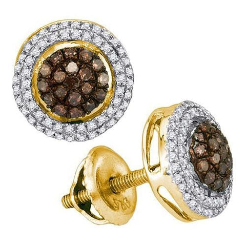 10k Yellow Gold 0.35Ctw Cognac Diamond Micro-Pave Earring: Earrings