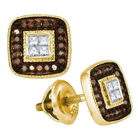 10k Yellow Gold 0.33Ctw Cognac Diamond Micro-Pave Earring: Earrings