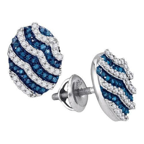 10k White Gold 0.45Ctw Blue Diamond Micro-Pave Earring: Earrings