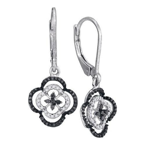 10k White Gold 0.50Ctw Black Diamond Micro-Pave Earring: Earrings
