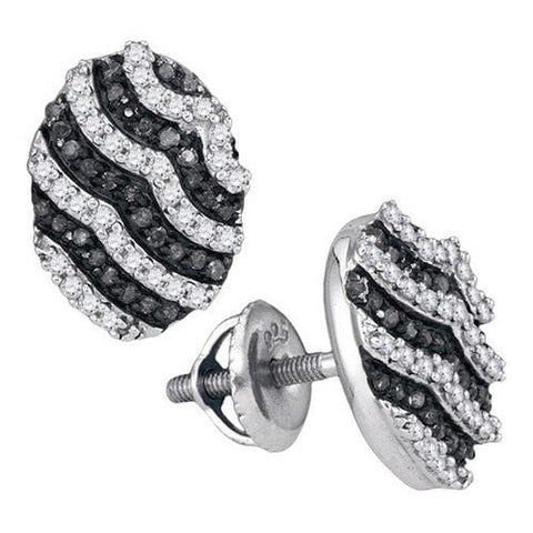 10k White Gold 0.45Ctw Black Diamond Micro-Pave Earring: Earrings