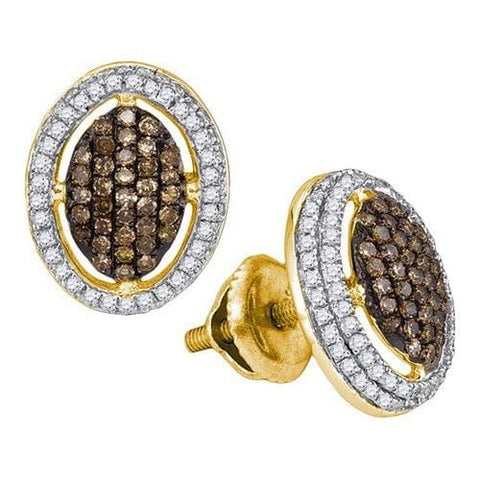10k Yellow Gold 0.55Ctw Cognac Diamond Micro-Pave Earring: Earrings
