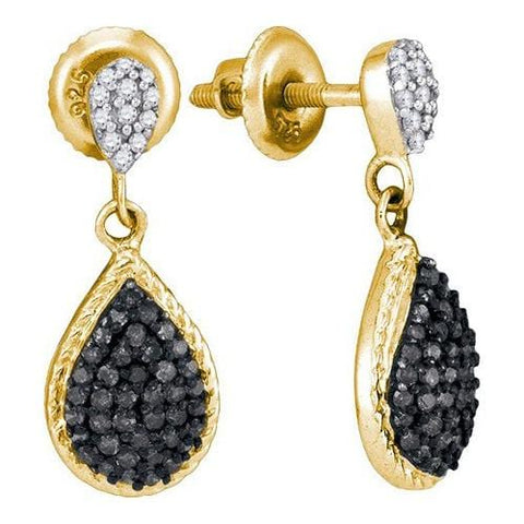 10k Yellow Gold 0.50Ctw Black Diamond Micro-Pave Earring: Earrings