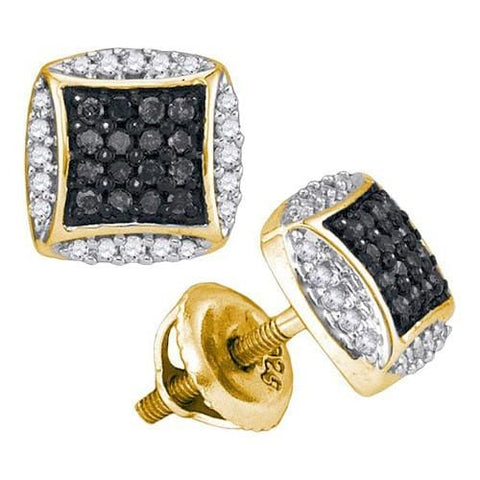 10k Yellow Gold 0.30Ctw Black Diamond Micro-Pave Earring: Earrings