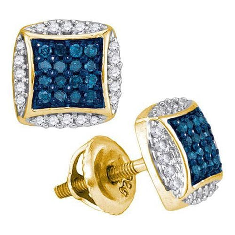 10k Yellow Gold 0.30Ctw Blue Diamond Micro-Pave Earring: Earrings