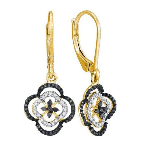 10k Yellow Gold 0.35Ctw Black Diamond Micro-Pave Earring: Earrings