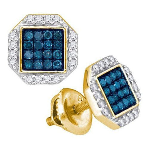 10k Yellow Gold 0.40Ctw Blue Diamond Micro-Pave Earring: Earrings