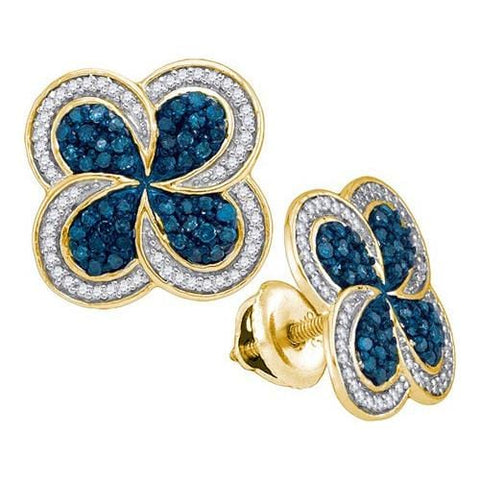 10k Yellow Gold 0.55Ctw Blue Diamond Micro-Pave Earring: Earrings