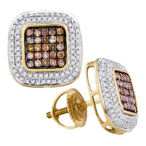 10k Yellow Gold 0.50Ctw-Dia Cognac Diamond Micro-Pave Earring: Earrings