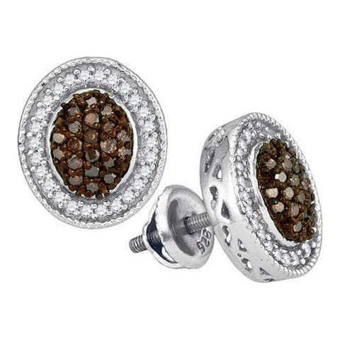 10k White Gold 0.50Ctw Cognac Diamond Micro-Pave Earring: Earrings