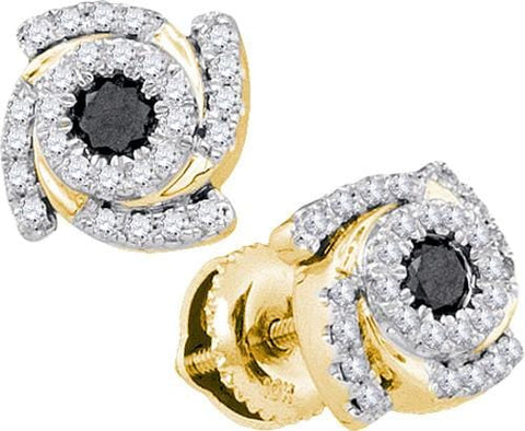 10K Yellow Gold 0.48 Ctw Diamond Fashion Stud Earrings 1.91g: Earrings