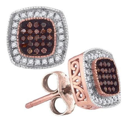 10K Rose Gold 0.25 Ctw Red Diamond Micro Pave Stud Earrings 1.72g: Earrings