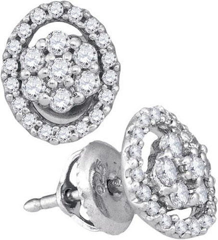 10K White Gold 0.49 Ctw Diamond Fashion Stud Earrings 1.19g: Earrings