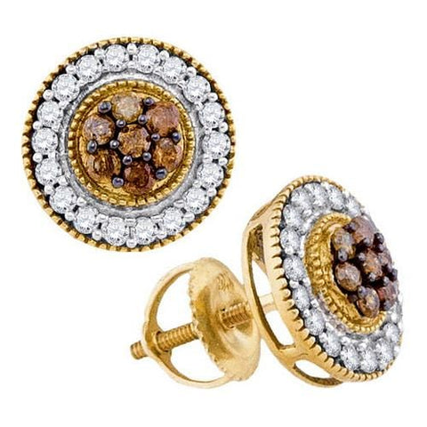 10k Yellow Gold 0.62Ctw-Dia Cognac Diamond Fashion Earring: Earrings