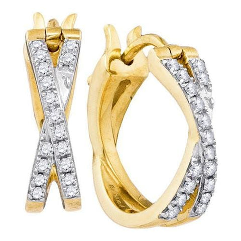 10k Yellow Gold 0.37Ctw-Dia Fashion Hoop Earrings: Earrings