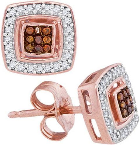 10k Rose Gold 0.15Ctw-Dia Micro-Pave Earring: Earrings