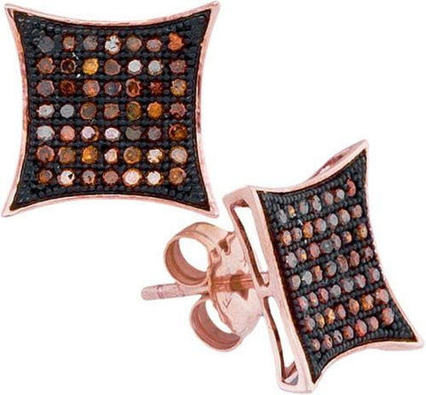 10k Rose Gold 0.33Ctw-Dia Micro-Pave Earring: Earrings