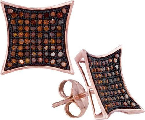 10k Rose Gold 0.40Ctw-Dia Micro-Pave Earring: Earrings