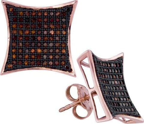 10k Rose Gold 0.51Ctw-Dia Micro-Pave Earring: Earrings