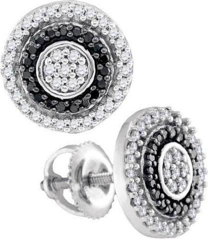 10K White Gold 0.35 Ctw Black Diamond Fashion Stud Earrings 1.89g: Earrings