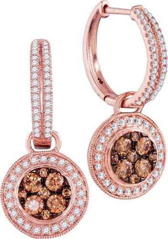 14K Rose Gold 1.06 Ctw  Brown and White Diamond Fashion Dangle Earrings 4.57g: Earrings
