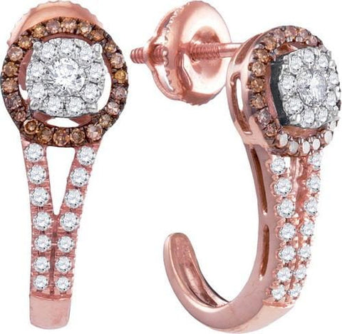 14K Rose Gold 0.52 Ctw Diamond Fashion Hoop Earrings 2.97g: Earrings