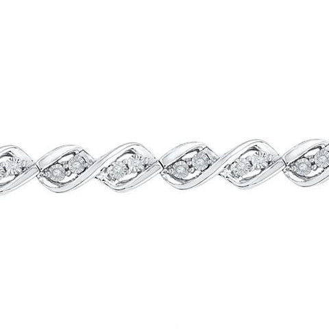 10K White Gold 0.20 Ctw Diamond Fashion Bracelet 9.66g: Bracelet