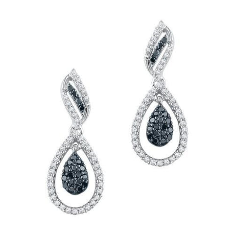 10K White Gold 0.50 Ctw Black Diamond Fashion Dangle Earrings 2.55g: Earrings