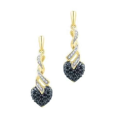 10K Yellow Gold 0.20 Ctw Black Diamond Fashion Dangle Earrings 2.79g: Earrings